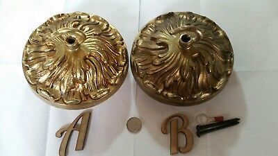 1 of 2 FRENCH CEILING ROSE 122mm Quality chandelier hook c1930 OLD cast brass