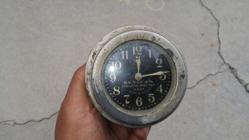 KEYLESS RIM WIND - RIM SET 8 DAY VINTAGE AUTOMOTIVE CLOCK 1915 - 1928  NASH 916