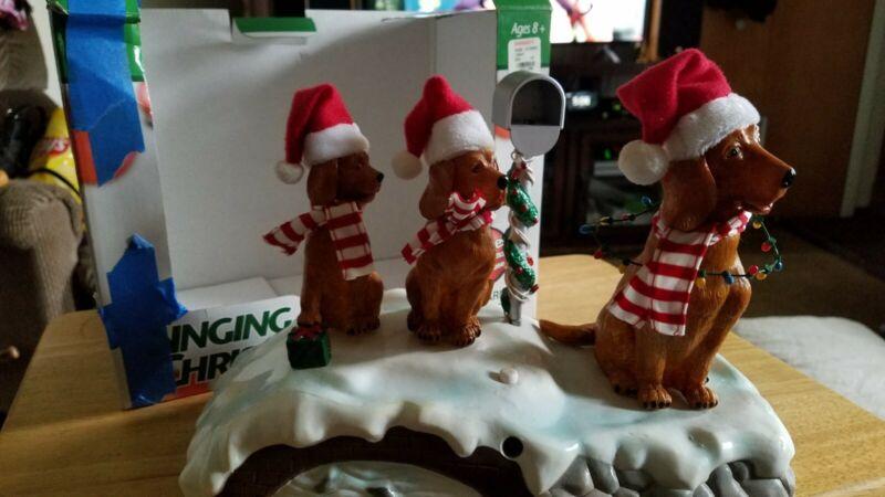 Vintage Golden Retriever GEMMY Animated Christmas Singing Dog Trio