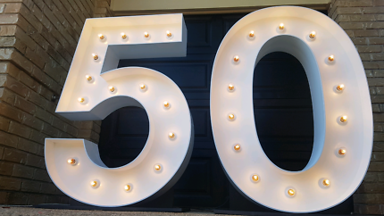 Giant 50 light up numbers for hire