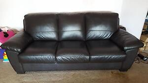 """Freedom  """" Lucas""""  3 and a half Seater Brown Leather Sofa Bed Rooty Hill Blacktown Area Preview"""