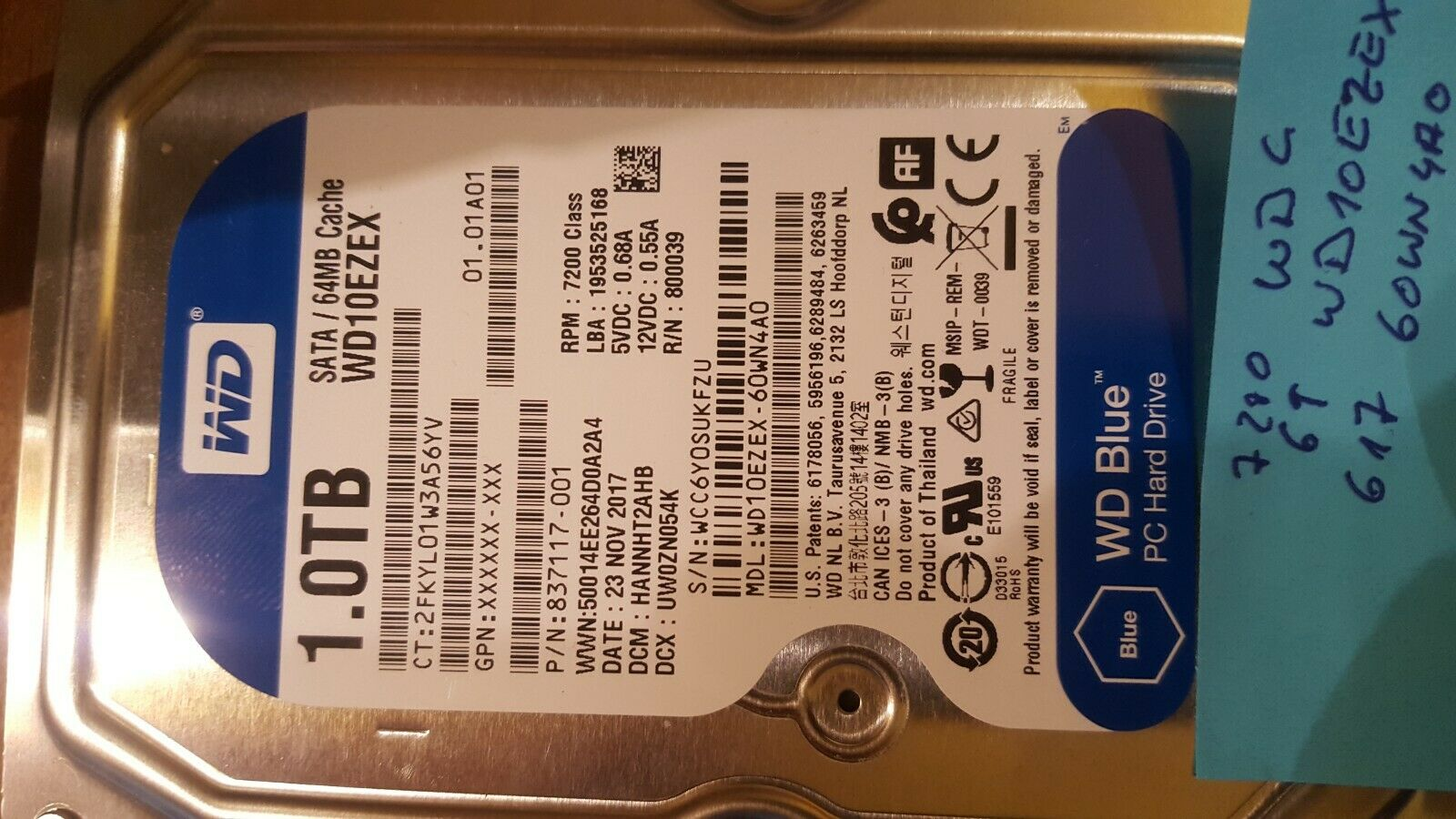 WD Blue  WD10EZEX 1.0TB  Festplatte HDD SATA 64MB Cache  7200RPM von 2017