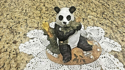 Collectible Royal Heritage Porcelain Sculpture Giant Panda Eating Bamboo Leaves