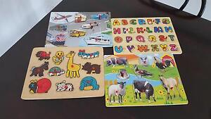 puzzles x 4 wooden farm cars & transport animals Upper Coomera Gold Coast North Preview