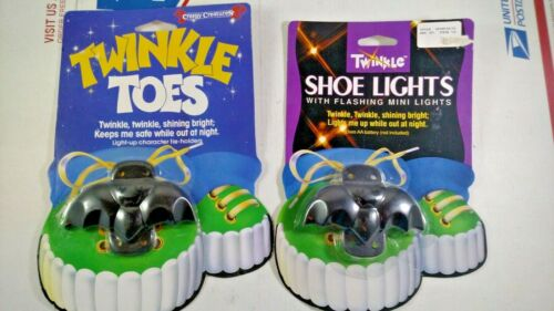 2 Vintage Twinkle Toes Bat Shoe Lace Lights Kids Trick or Treat Halloween Safety