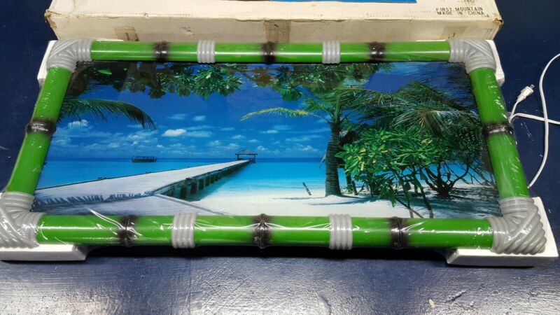 Tropical Beach Light Up Animated Shimmering Waterfall Motion Picture With Sound
