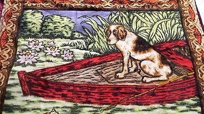 Stroock horsehair lap blanket with dog design - circa 1920s - FREE SHIPPING