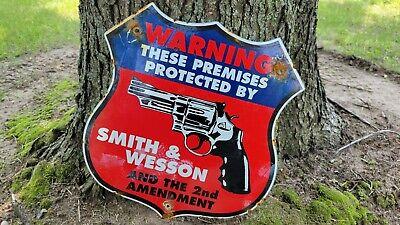 VINTAGE OLD DIE-CUT SMITH WESSON PORCELAIN ADVERTISE GUN SIGN AMMO REMINGTON