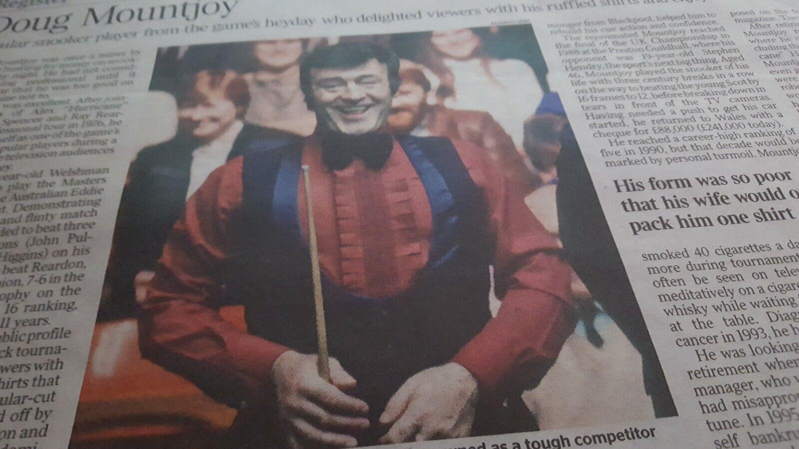 UK Times Obituary. DOUG MOUNTJOY. snooker player. UK newspaper cutting 17.2.21