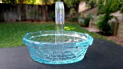 "Westmoreland Basket Vintage Sapphire Blue Glass Handled ~7"" x 6"" x 6"""