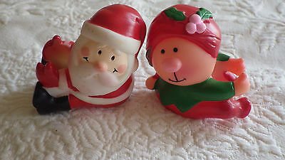 "Set of 2 Santa & Elf Dinner Taper Attachment Kitchen Table Decor 2.5"" Tall"