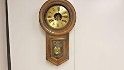 Vintage Regulator mkd Chiming Wood Wall Clock-Leaf Pendulum Key Wind-Needs TLC