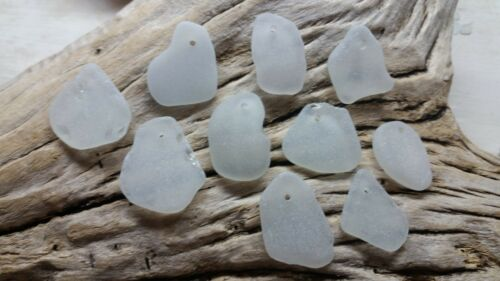 Sea Glass - 10 X-Large pieces of Top Drilled White