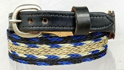 Hutband 2.9cm Pferdehaar und Leder Blau, Schwarz, Weiß + Tan Gewebt Cowboy Hut