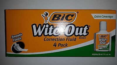 4 Bic Wite-out Extra Coverage Quick Dry Correction Fluid White 20ml Bottles