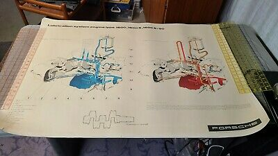 Vtg Porsche 356 Factory Service Poster 1600 Engine S Lubrication System Cutaway