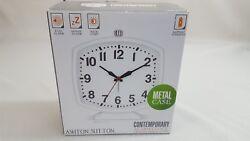 Ashton Sutton Contemporary Alarm Clock Battery Operated Model H0C928B White