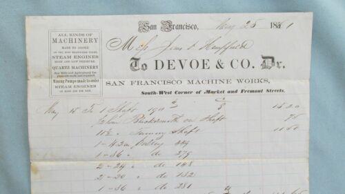 1861 San Francisco Calif. Devoe & Co San Francisco Machine Works Billhead-Mining