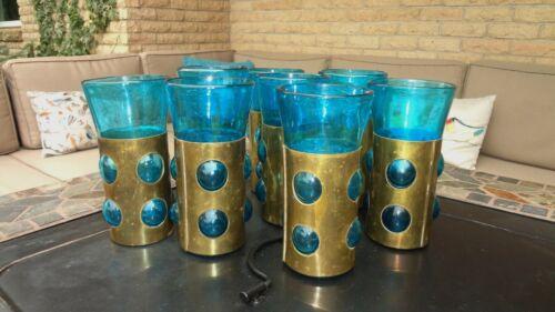 MCM Felipe Derflingher Caged Imprisoned Brass & Blown Glass Tumblers Set of 8