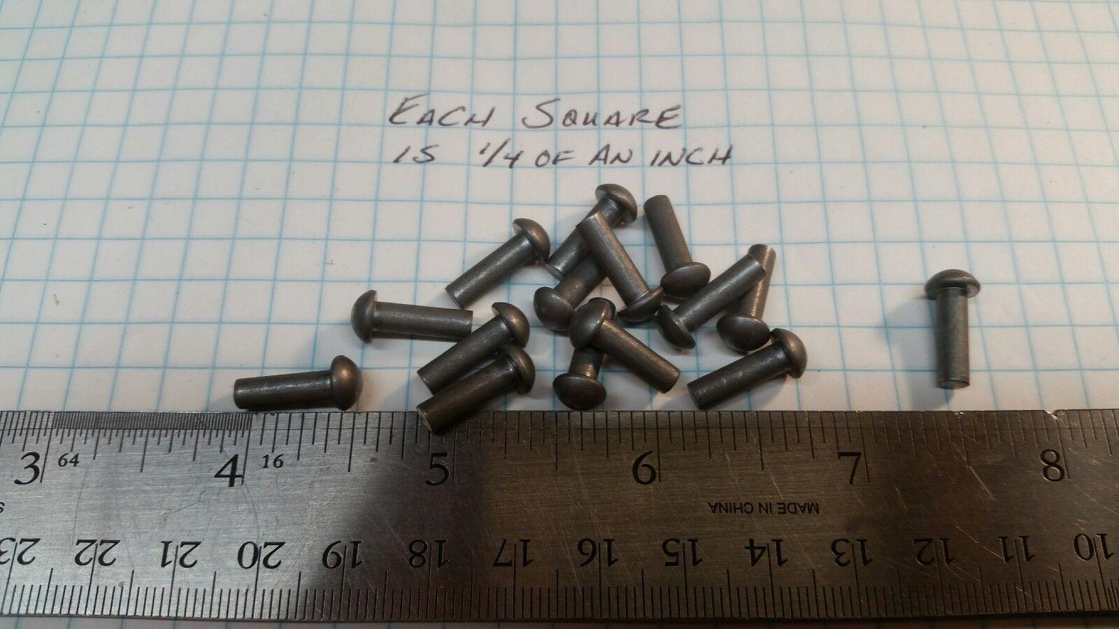 50 Solid Steel 5/32 X 1/2 SCA armor rivets LARP round head model tank repair