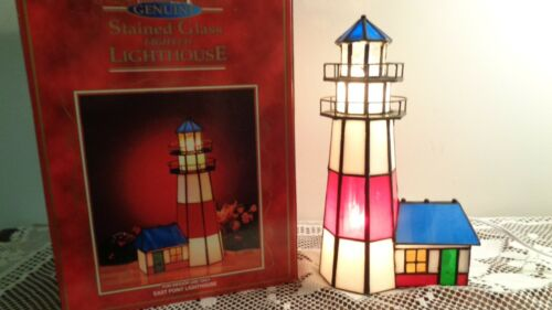 """Genuine Stained Glass Blinking Lighted East Point 11"""" Tall Lighthouse NEW in BOX"""