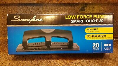 Swingline Smarttouch Low Force 20 Sheet Capacity 3 Hole Paper Punch Free Shippi