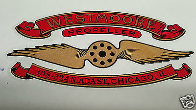 Westmoore Propeller Decal Set of 2 for Vintage Aircraft WW1 - 1920s WATER SLIDE