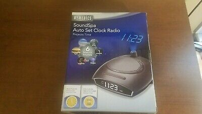 Homedics Soundspa Auto Set Alarm Clock Radio Nature Sounds Time Projection NIB