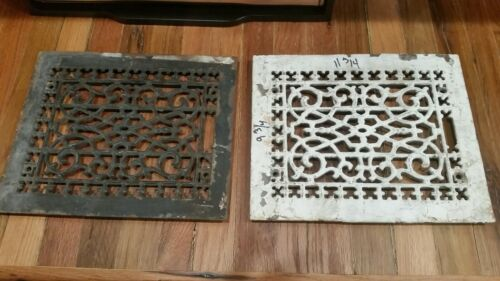 Set Of 2 Antique Cast Iron Victorian Home Floor Heat Vent Grate Register Wall 11 - $50.00