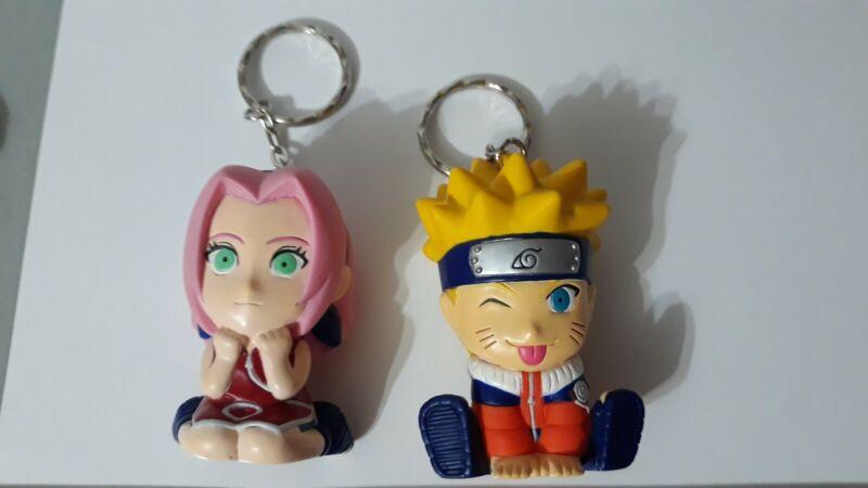 Chibi Naruto & Sakura rubber Keychain lot anime Kishimoto