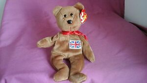 TY beanie babies Britannia patch flag bear made in Indonesia