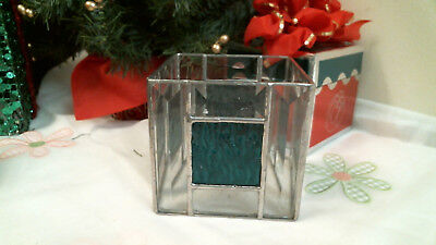 STAINED GLASS CLEAR BEVELS & GREENISH BLUE candle holders  - Blue Candle Holders