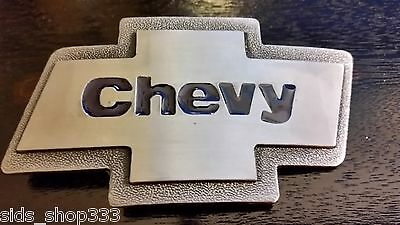 SIlver brushed Color Classic CHEVY logo Belt Buckle gift CHEVY RACING (Colored Buckle)