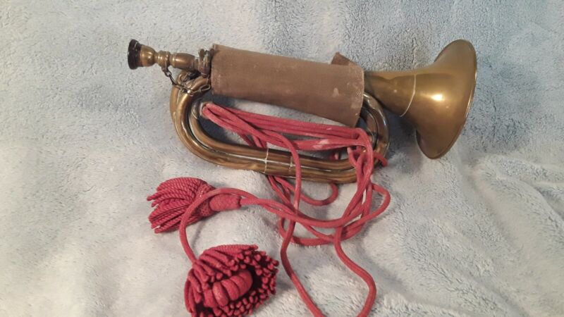 Vintage rare  WW II Japanese Brass Bugle with red tassels a must see. B7