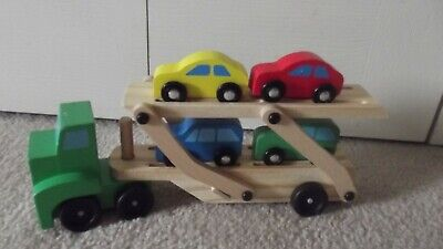 Melissa And Doug Car Carrier (Melissa Doug Car Carrier Truck and Cars Wooden Toy Set With 1 Truck and 4)