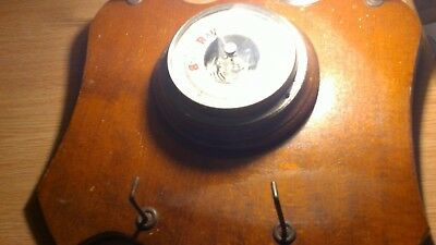 ANTIQUE AUTHENTIC ORIGINAL BAROMETER ON HARDWOOD BOARD WITH FOUR  HOOKS