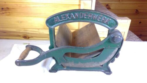 Antique ALEXANDERWERK Bread Slicer Cutter Cast-iron Cutting Machine Green