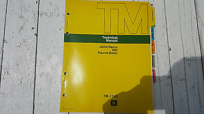 John Deere 500 Round Baler Technical Repair Manual Tm-1140 1976