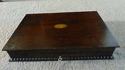 Antique/ vintage wood canteen cutlery empty box  with a key