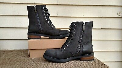 UGGS  WOMENS KILMER II BLACK SHEARLING LINED  COMBAT BOOT LACE ZIP NEW SIZE 7