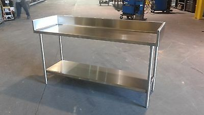 72 X 24 78 X 36 Tall Stainless Steel Prep Table With 6 38 Backsplash