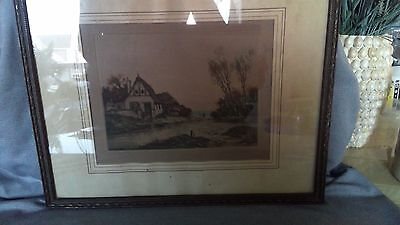 Antique Signed Village on Lake Old Town Alley Colored Etching Engraving Print