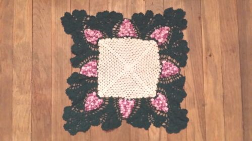 VINTAGE HAND CROCHET SQUARE GRAPE DOILIE FREE SHIPPING