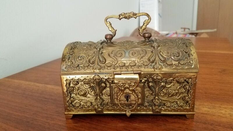 Antique Vintage Erhard & Sohne  Gilded Brass Art Nouveau Jewelry Box with key