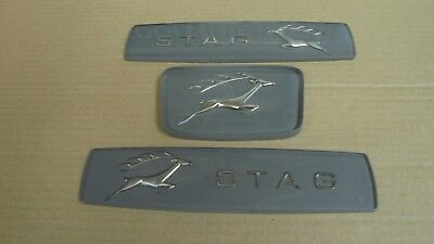 Triumph STAG ** BADGE SET OF 3 - FRONT GRILLE + 2 x REAR WING - MK1 GREY ** NEW