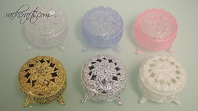 (Plastic Mini Gift Box Round Party Favor Decoration Wedding Bridal Shower Elegant)