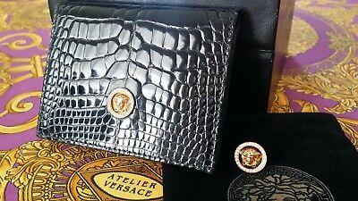 GIANNI VERSACE 18K Gold Diamond Medusa Alligator Crocodile Wallet NIB Superb
