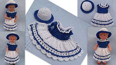 Kleidchen  mit Hut für Püppchen 9-10 cm