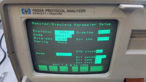 HP 4952A PORTABLE LAN PROTOCOL ANALYZER, UNIT POWERS UP
