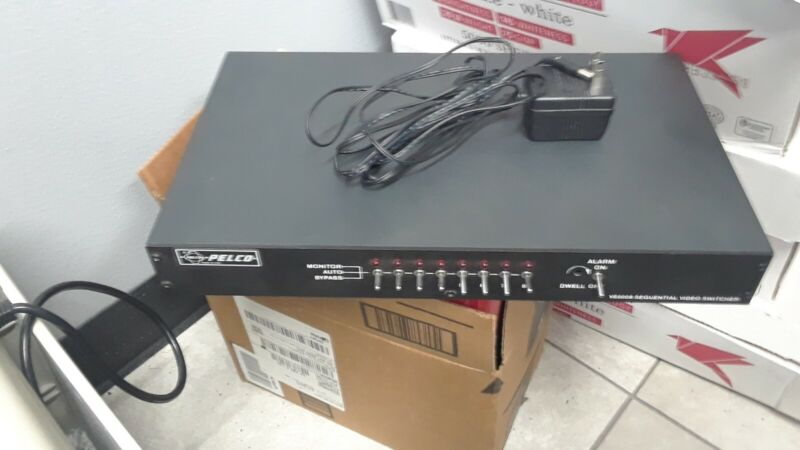 PELCO VS5008 SEQUENTIAL VIDEO SWITCHER + AC Adapter-Made in USA